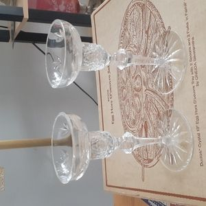 Two Crystal Candleholders.